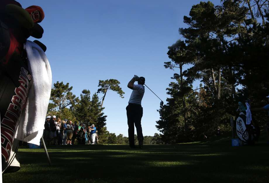 Chris Stroud tee shot on the 7th hole at the Spyglass Hill course during round 1 of the AT&T Pebble Beach Pro-Am in Pebble Beach, Calif., seen on Thursday Feb. 8, 2018. (Michael Macor/San Francisco Chronicle)