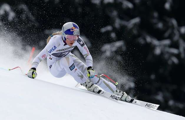 United States' Lindsey Vonn competes during an alpine ski, women's world Cup downhill race, in Garmisch Partenkirchen, Germany, Sunday, Feb. 4, 2018.  Photo: Gabriele Facciotti, Associated Press