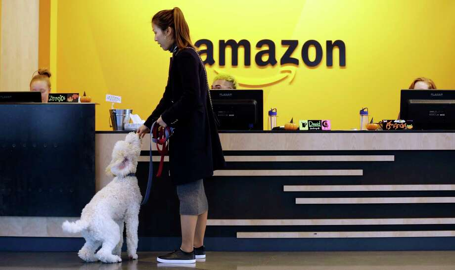 An Amazon employee gives her dog a biscuit on Oct. 11, 2017, as the pair head into a company building, where dogs are welcome, in Seattle. (AP Photo/Elaine Thompson, File) Photo: Elaine Thompson, STF / Copyright 2017 The Associated Press. All rights reserved.
