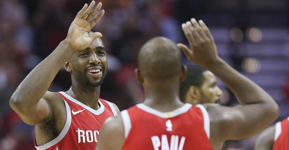 PHOTOS: Rockets game-by-game Houston Rockets forward Luc Mbah a Moute, left, celebrates with Chris Paul during a timeout during the second half of an NBA basketball game against the Denver Nuggets, Wednesday, Nov. 22, 2017, in Houston. Houston won the game 125-95. (AP Photo/Eric Christian Smith) Browse through the photos to see how the Rockets have fared through each game this season.