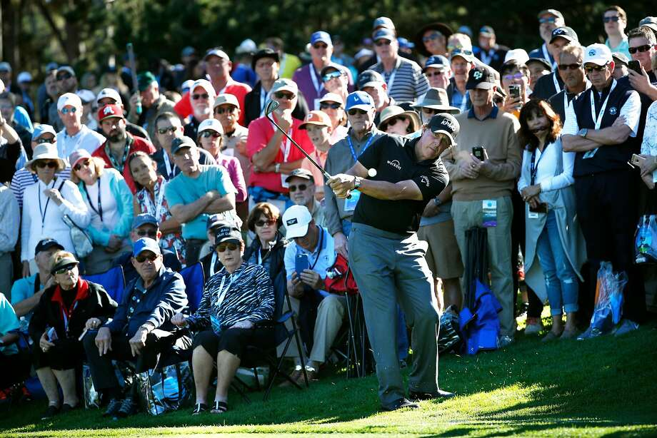 Phil Mickelson with his green side chip on 6th hole at the Spyglass Hill course during round 1 of the AT&T Pebble Beach Pro-Am in Pebble Beach, Calif., seen on Thursday Feb. 8, 2018. Photo: Michael Macor, The Chronicle