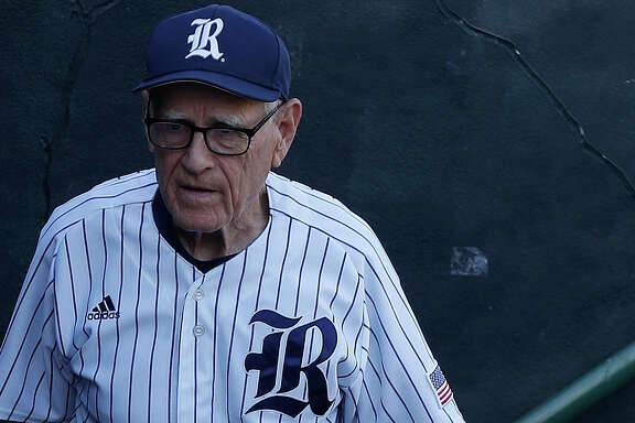 Rice Owls head coach Wayne Graham in the dugout before the start of a college baseball game at Reckling Park, Tuesday, May 16, 2017, in Houston. ( Karen Warren / Houston Chronicle )