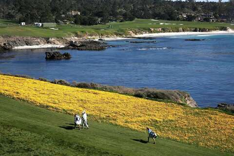 Poppies Line The 8th Fairway On Pebble Beach Golf Links During Round 1of At T