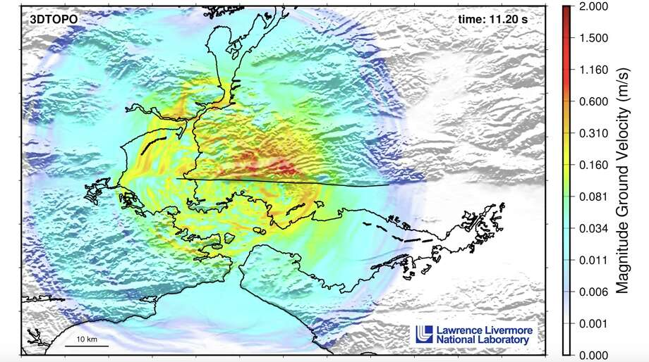 A screenshot from the simulation shows the ripple effects of a 7.0-magnitude earthquake on the northern section of the Hayward fault. Photo: Lawrence Livermore National Laboratory