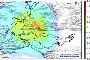 A screenshot from the simulation shows the ripple effects of a 7.0-magnitude earthquake on the northern section of the Hayward fault.