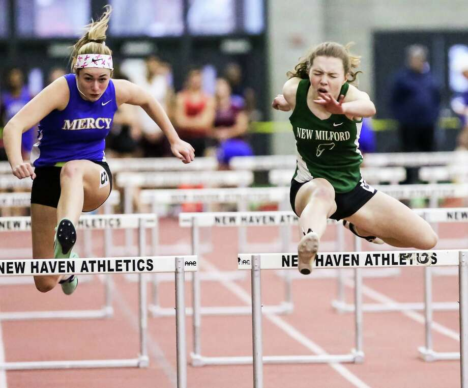 Action from the CIAC Class L state Indoor Track championships held at the Floyd Little Athletic Complex in New Haven Thursday, February 8, 2018. Photo: John H Vanacore / For Hearst Connecticut Media