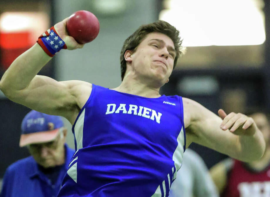 Darien's Michael Neary competes in the CIAC Class L State championship meet in New Haven on Thursday February 8, 2018. Photo: John H Vanacore / For Hearst Connecticut Media