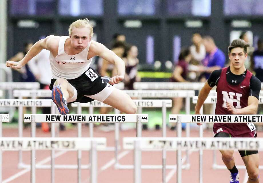 New Canaan's Sean Knight claimed 2nd place in the 55 meter hurdles in The CIAC Class L State Championship Thursday, February 8, 2018 in New Haven. Photo: John H Vanacore / For Hearst Connecticut Media