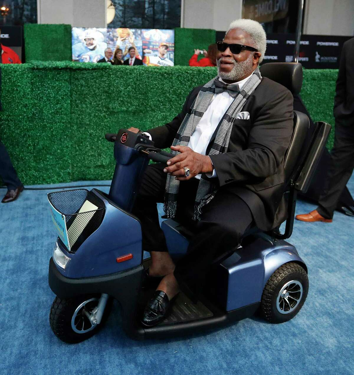 Earl Campbell on the blue carpet before the start of the Houston Sports Awards at the Hilton Americas, Thursday, Feb. 8, 2018, in Houston.