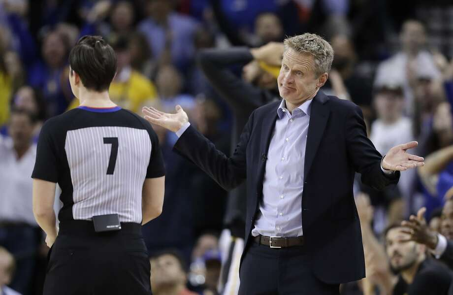 Golden State Warriors coach Steve Kerr argues a call with referee Lauren Holtkamp during the second half of the team's NBA basketball game against the Oklahoma City Thunder on Tuesday, Feb. 6, 2018, in Oakland, Calif. (AP Photo/Marcio Jose Sanchez) Photo: Marcio Jose Sanchez, Associated Press
