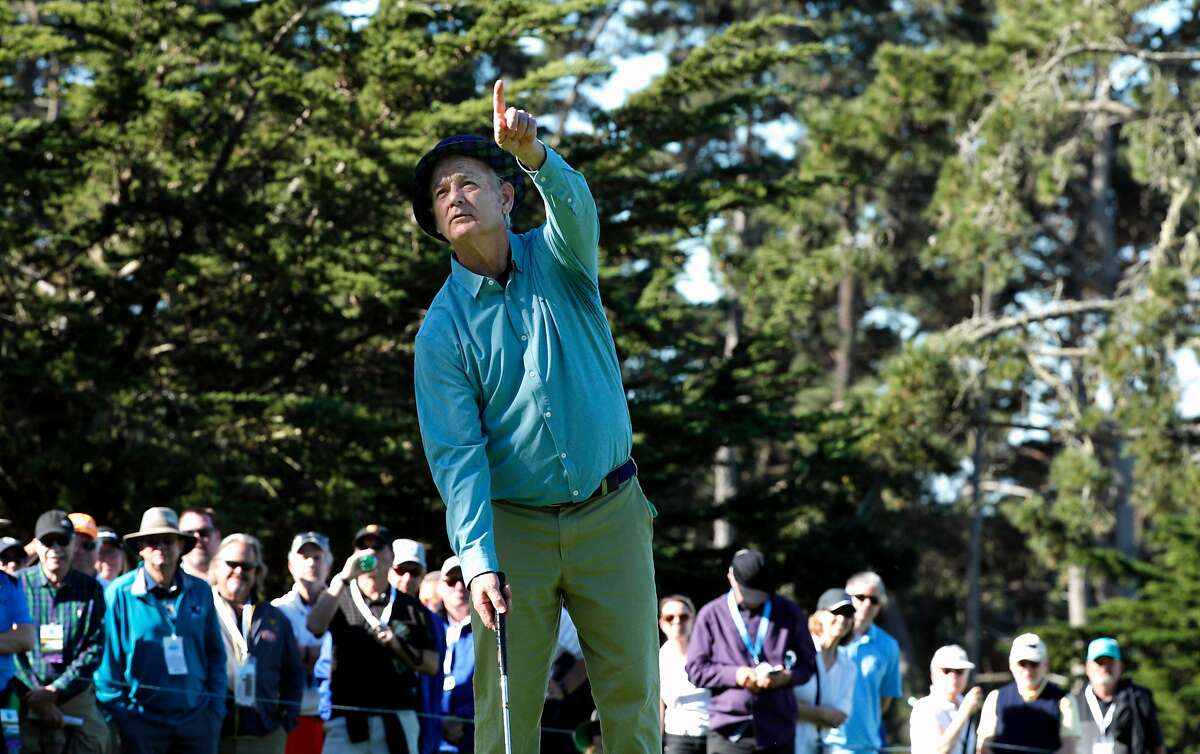 Actor comedian Bill Murray on the 6th hole at the Spyglass hill course during round 1 of the AT&T Pebble Beach Pro-Am in Pebble Beach, Calif., seen on Thursday Feb. 8, 2018.