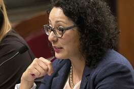 FILE - In this June 22, 2016 file photo, Assemblywoman Cristina Garcia, D- Bell Gardens, speaks at the Capitol in Sacramento, Calif. Garcia, the head of California's legislative women's caucus and a leading figure in the anti-sexual harassment movement is herself the subject of a sexual misconduct claim, Politico reported Thursday, Feb. 8, 2018. (AP Photo/Rich Pedroncelli, File)