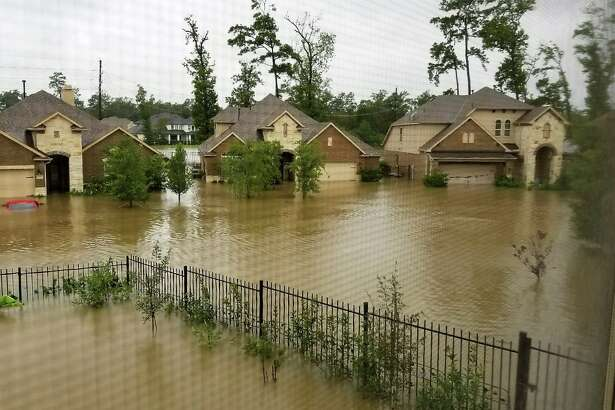 Flooding in The Woodlands during Hurricane Harvey as seen from the second story of the home of Stanley Okazaki, the founder of the group Stop The Flooding In MUD 386. More than 300 homes were flooded in the Timarron and Timarron Lakes area during Harvey.