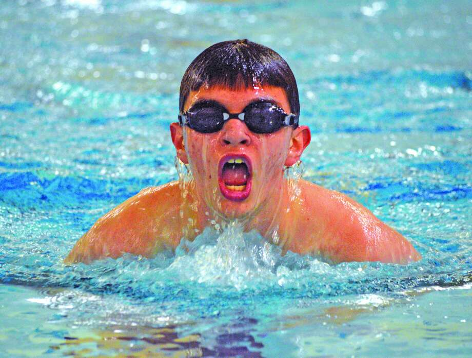 Edwardsville's Cameron Moss competes in the 100-yard breaststroke during Thursday's Southern Illinois High School Boys Championships at Chuck Fruit Aquatic Center.