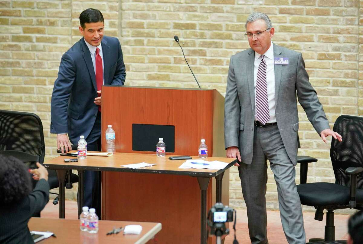 Incumbent district attorney Nico LaHood, left, and DA candidate Joe Gonzales participate in a debate, Thursday, Feb. 8, 2018, at the Claude Black Community Center in San Antonio. Gonzales defeated LaHood.