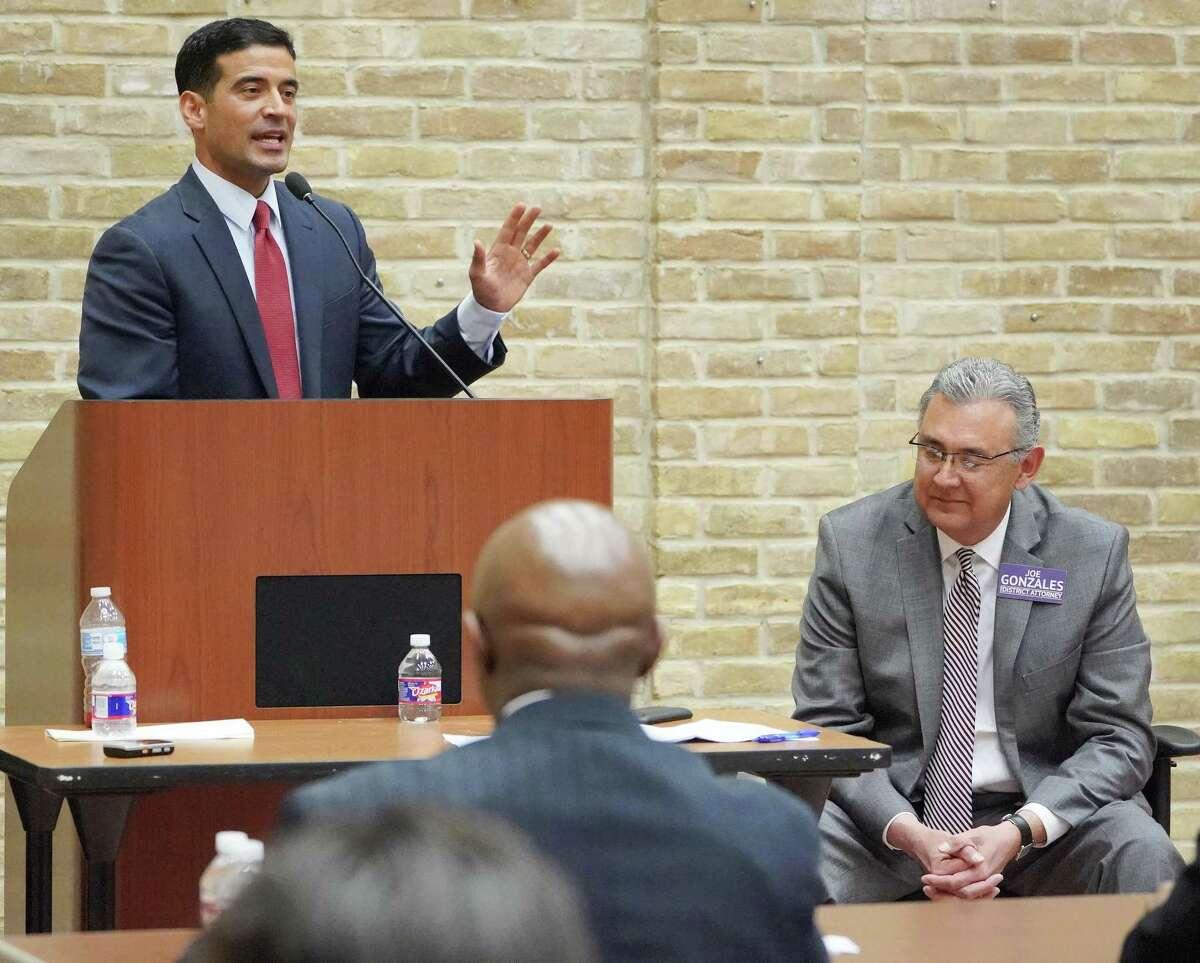 Incumbent district attorney Nico LaHood, left, and DA candidate Joe Gonzales participate in a debate, Thursday, Feb. 8, 2018 at the Claude Black Community Center in San Antonio.