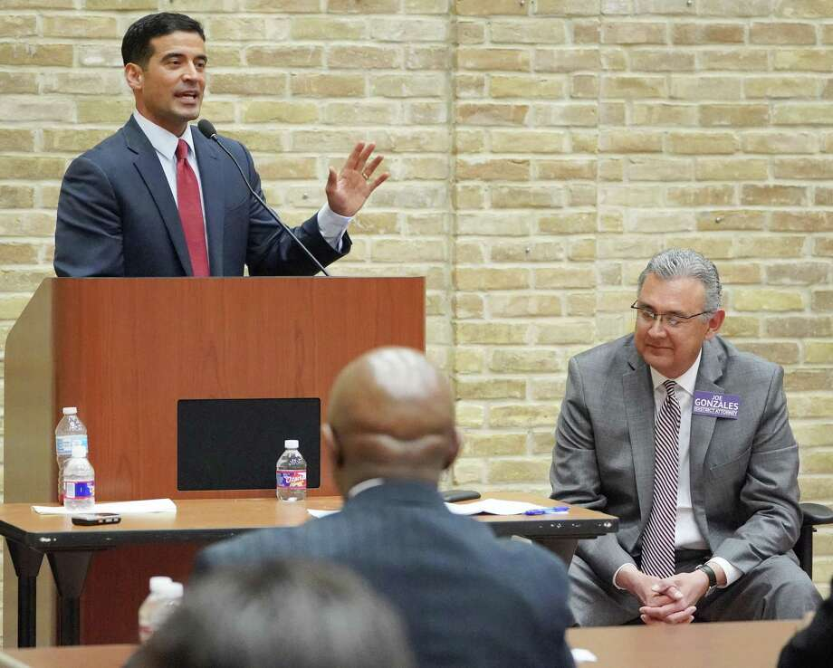 Incumbent district attorney Nico LaHood, left, and DA candidate Joe Gonzales participate in a debate, Thursday, Feb. 8, 2018 at the Claude Black Community Center in San Antonio. Photo: Darren Abate /For The Express-News