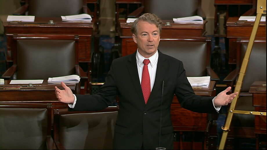 In this image from video from Senate Television, Sen. Rand Paul, R-Ky., speaks on the floor of the Senate Thursday, Feb. 8, 2018, on Capitol Hill in Washington. (Senate TV via AP) Photo: HOGP / Senate Television