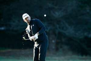 Aaron Rodgers with his chip shot on the 1st hole at the Spyglass Hill course during round 1 of the AT&T Pebble Beach Pro-Am in Pebble Beach, Calif., seen on Thursday Feb. 8, 2018.