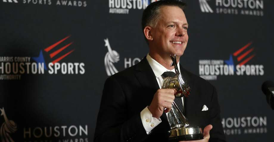 Houston Astros manager A.J. Hinch holds his award for Coach of the Year during the Houston Sports Awards at the Hilton Americas, Thursday, Feb. 8, 2018, in Houston. ( Karen Warren / Houston Chronicle ) Photo: Karen Warren/Houston Chronicle