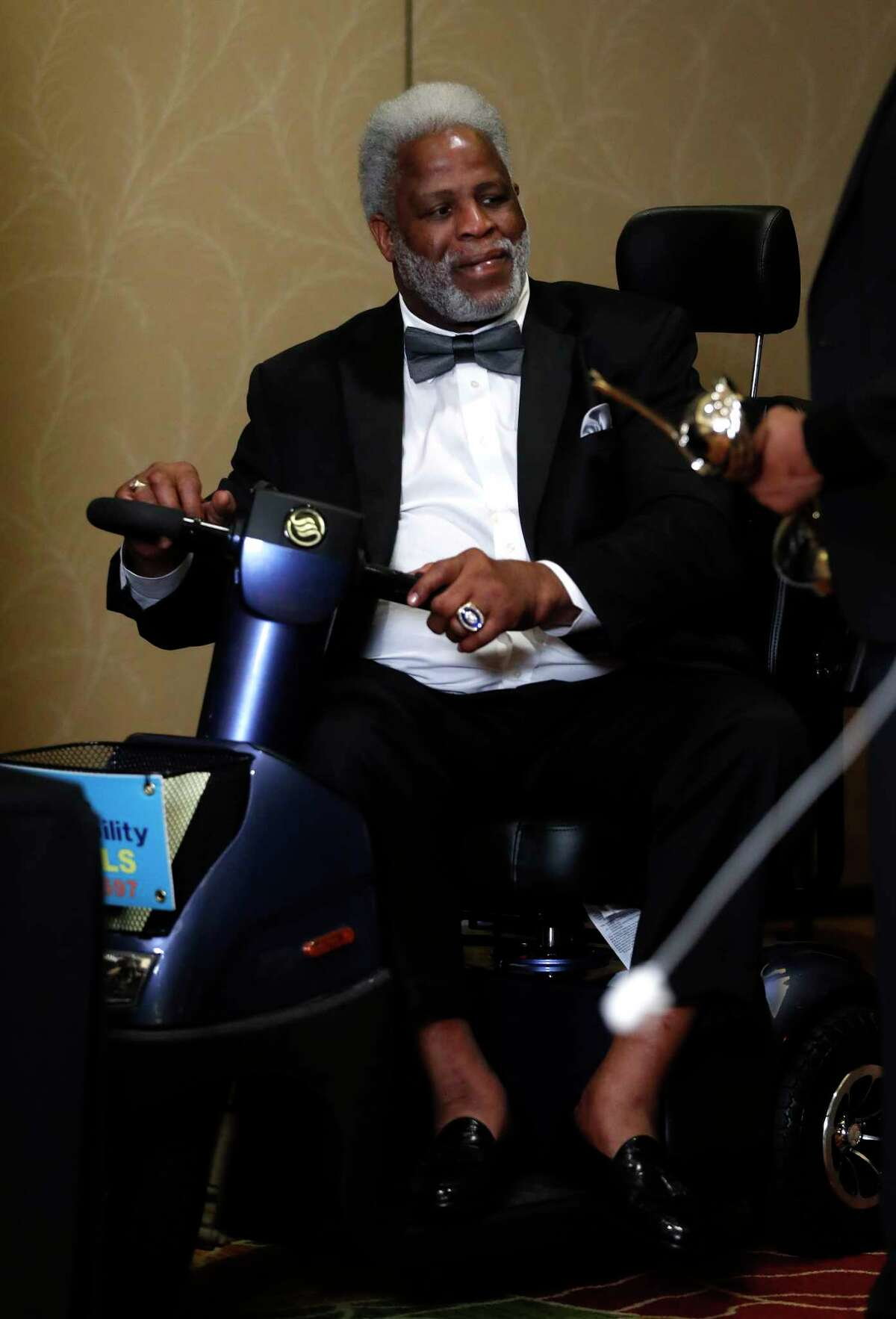 Earl Campbell and Houston's 34s Nolan Ryan and Hakeem Olajuwon got together during a press conference after the Houston Sports Awards at the Hilton Americas, Thursday, Feb. 8, 2018, in Houston.