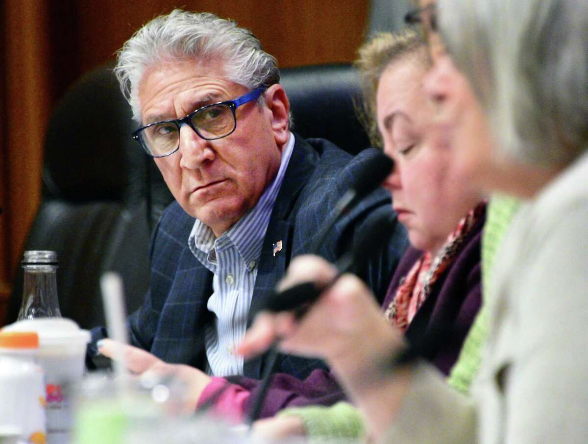 Senator Jim Tedisco, left, during a joint legislative budget hearing Thursday Feb. 8, 2018 in Albany,NY. Tedisco is sponsoring with Long Island's Carl Marcellino to disallow the use of statewide student exam results in teacher performance reviews. (Lori Van Buren/Times Union) (John Carl D'Annibale/Times Union)