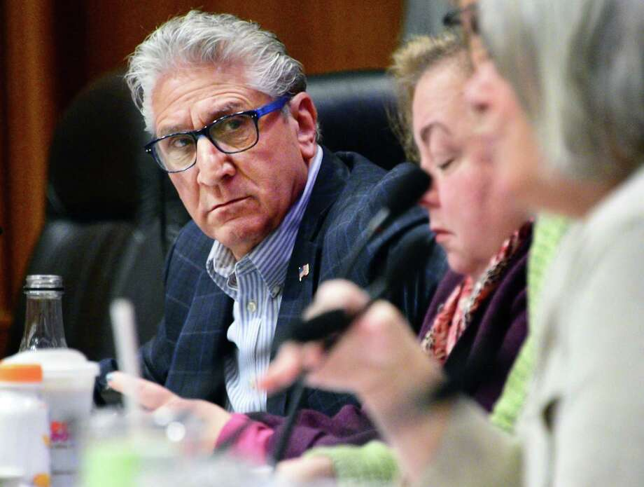 "Senator Jim Tedisco, left, during a joint legislative budget hearing Thursday Feb. 8, 2018 in Albany,NY.  Tedisco has proposed a ""Guardians for Schools"" customo license plate to fund armed school resource officers. (John Carl D'Annibale/Times Union) Photo: John Carl D'Annibale / 20042864A"