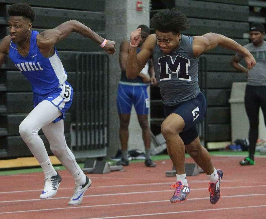 Middletown's Garrett Dandridge won the 55 meters at Thursday's Class L championships in New Haven. Photo: John Vanacore / For Hearst Connecticut Media / (c)John H.Vanacore