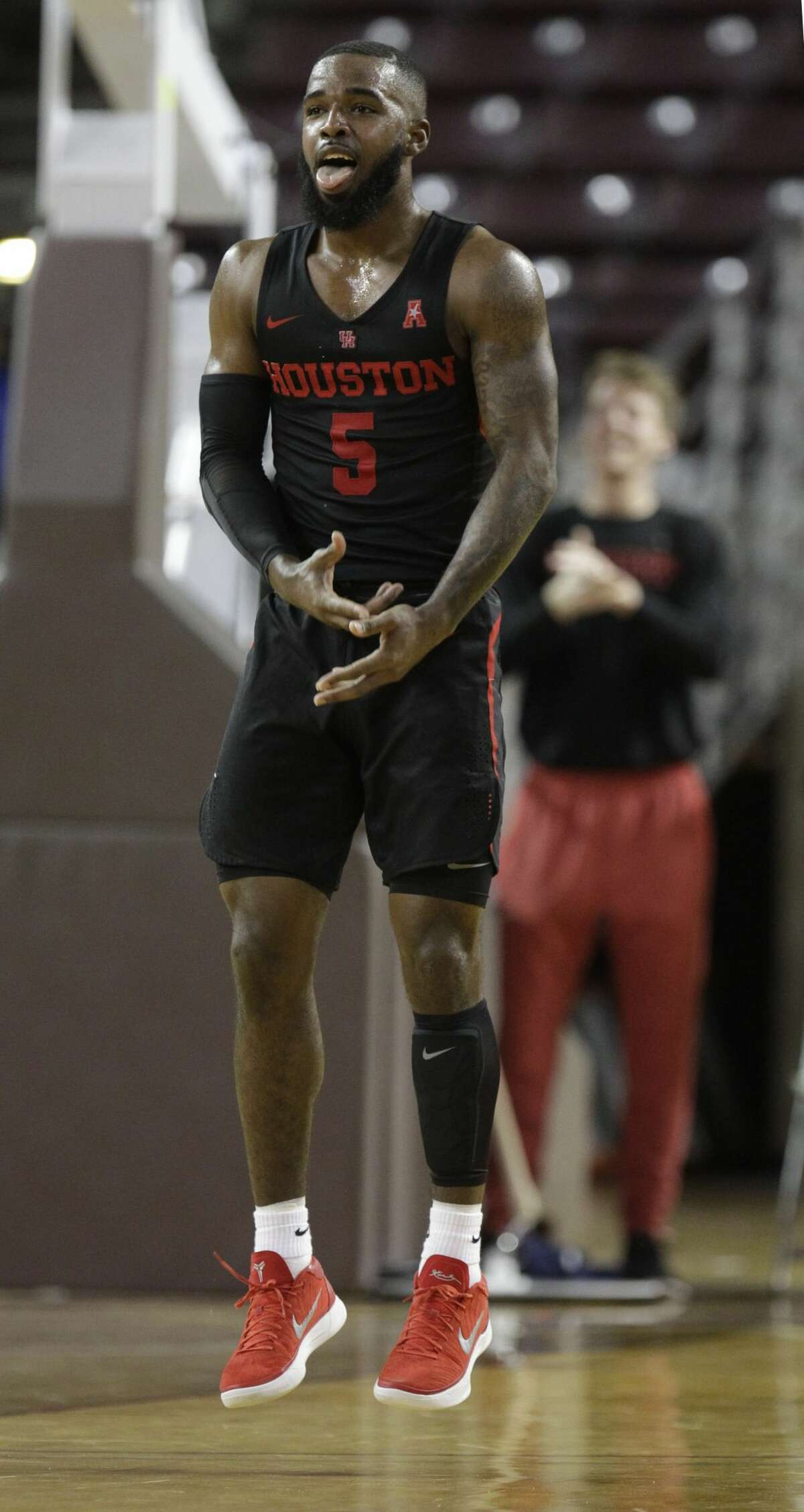 University of Houston Cory Davis Jr. celebrates a three point shot against the Southern Methodist University during first half of game at Texas Southern University Thursday, Feb. 8, 2018, in Houston. ( Melissa Phillip / Houston Chronicle )