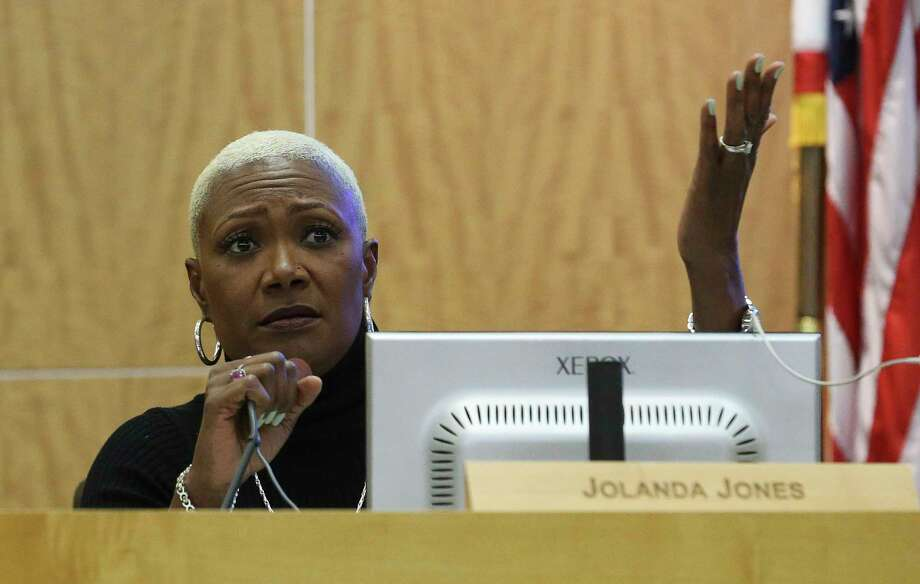 In this file photo, Houston ISD Board of Trustee Jolanda Jones speaks in a public meeting at Hattie Mae White Educational Support Center on Thursday, Feb. 8, 2018, in Houston. It was the first hearing from the community for the first time since plans were announced for major changes at low-performing schools. Photo: Yi-Chin Lee, Houston Chronicle / © 2018  Houston Chronicle