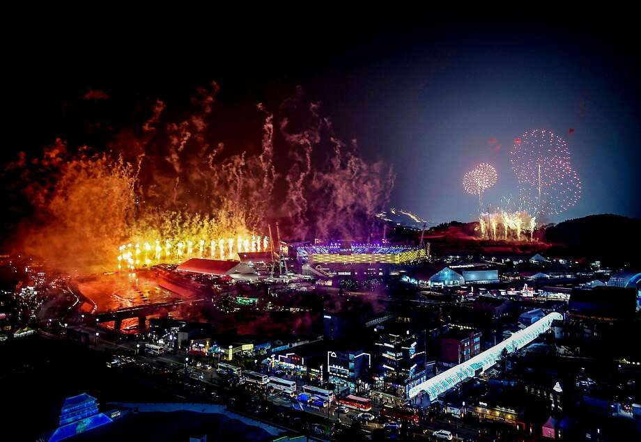 Fireworks go off during the opening ceremony of the Pyeongchang 2018 Winter Olympic Games at the Pyeongchang Stadium on February 9, 2018. Photo: BRENDAN SMIALOWSKI, AFP/Getty Images