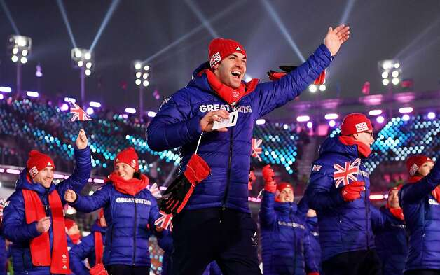 Members of Team Great Britain enter the stadium during the Opening Ceremony of the PyeongChang 2018 Winter Olympic Games at PyeongChang Olympic Stadium on February 9, 2018 in Pyeongchang-gun, South Korea.  Photo: Matthias Hangst, Getty Images
