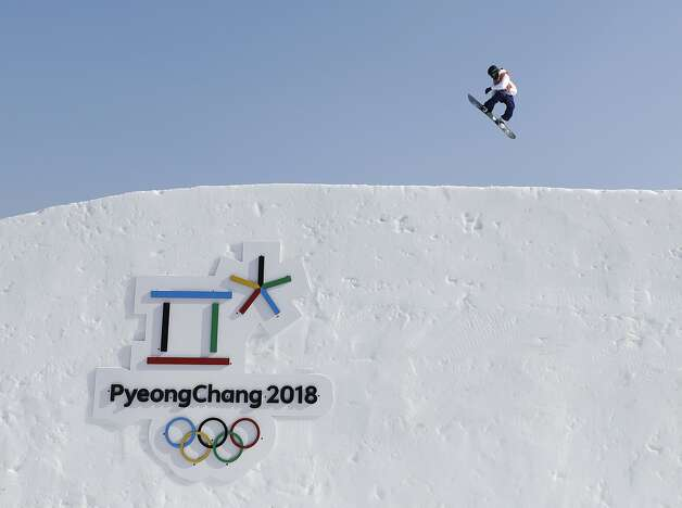 A snowboarder trains ahead for the 2018 Winter Olympics in Pyeongchang, South Korea, Thursday, Feb. 8, 2018.  Photo: Gregory Bull, Associated Press