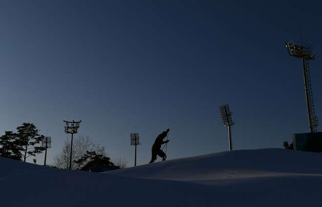 A biathlete trains during a free practice session ahead of the Pyeongchang 2018 Winter Olympic Games in Pyeongchang on February 7, 2018. Photo: FRANCK FIFE, AFP/Getty Images