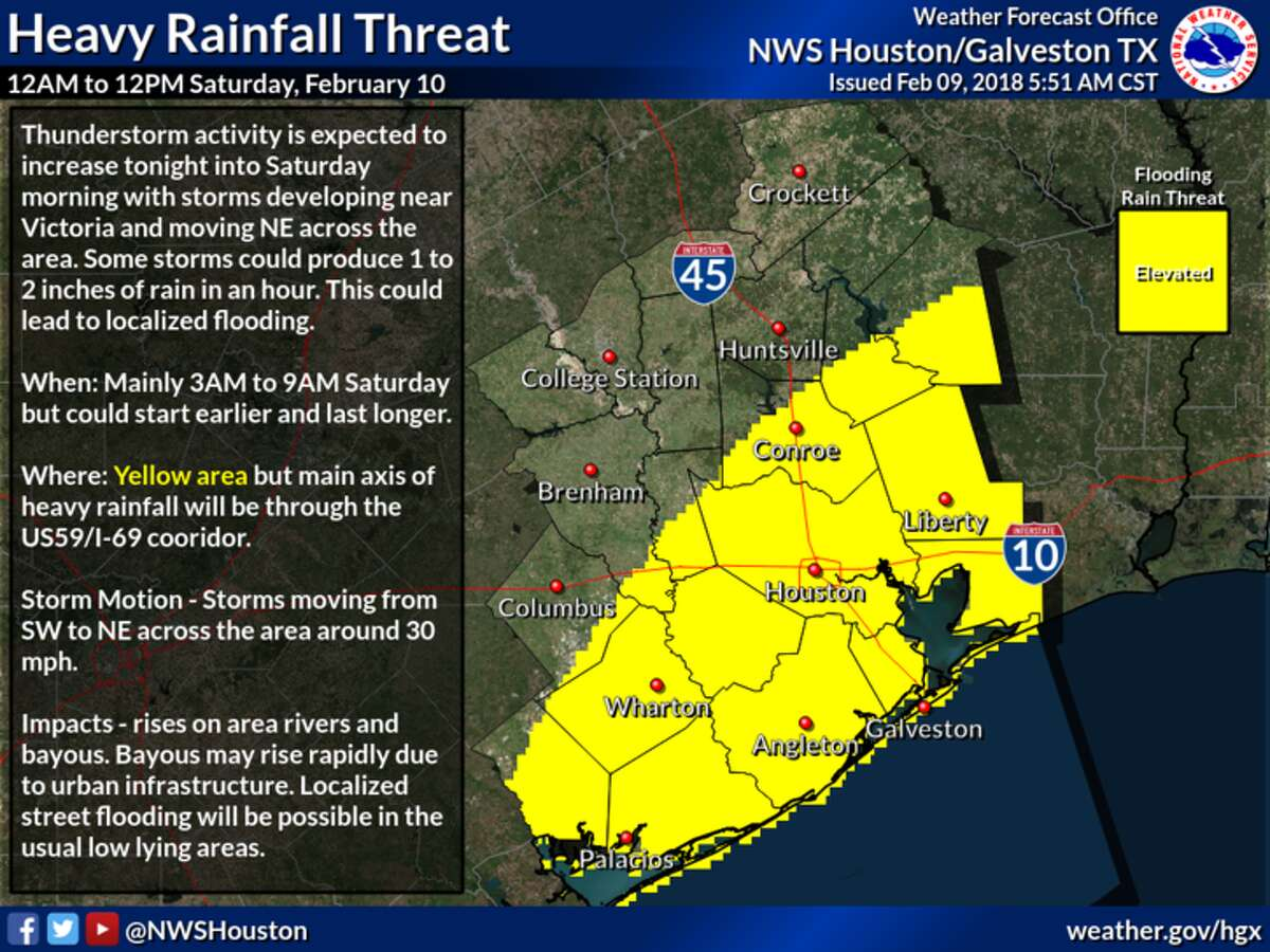 Heavy rainfall and localized flooding will be possible Saturday morning in the yellow area south of a Livingston, Conroe, Edna Texas line.