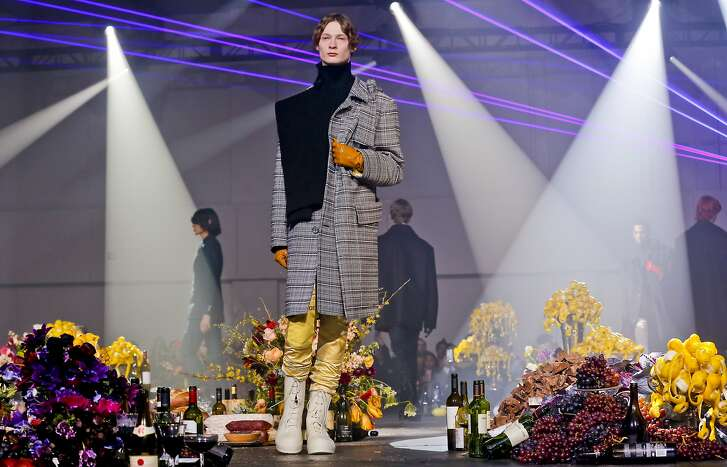 Fashion from Raf Simons men's collection is modeled during Fashion Week, Wednesday, Feb. 7, 2018, in New York. (AP Photo/Bebeto Matthews)