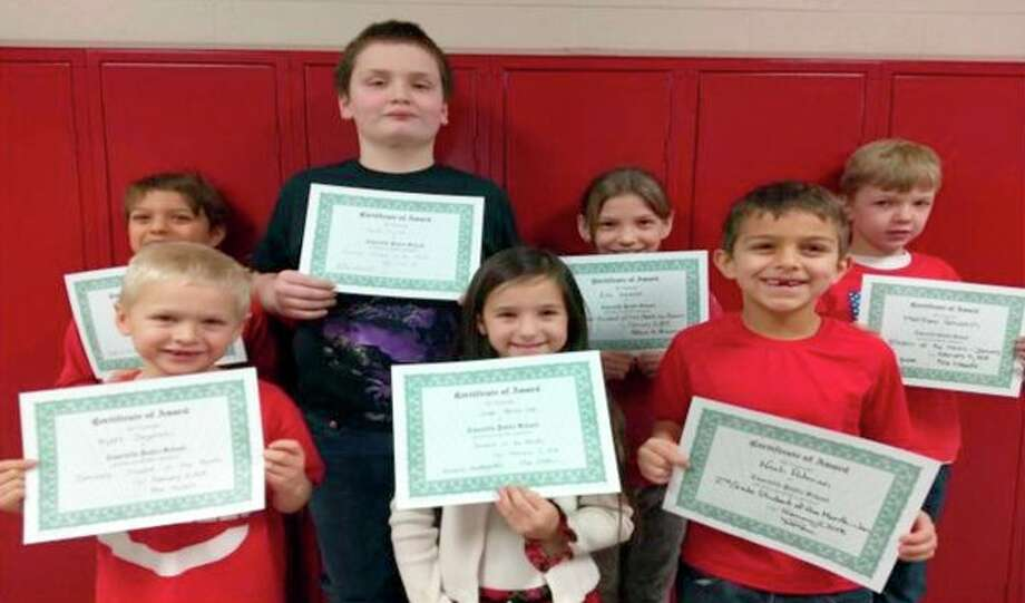 The Caseville Elementary School students of the month for January are (back row from left): Dominic Haag, 2nd grade; Wyatt Tucker, 5th grade; Ella Kessler, 4th grade; Matthew Schubach, 3rd grade; (Front row from left): Wyatt Zagorski, 1st grade; Jaida Henne-Lee, kindergarten; and Noah Putman, 2nd grade. (Submitted Photo)