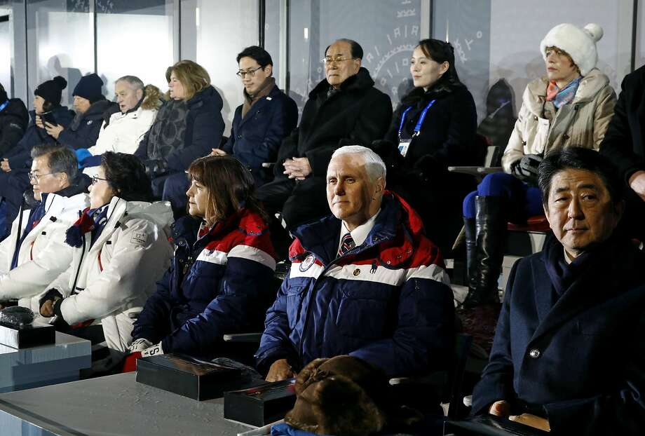 Vice President Mike Pence, second from bottom right, sits between second lady Karen Pence, third from from bottom left, and Japanese Prime Minister Shinzo Abe at the opening ceremony, behind Pence are Kim Yong Nam, third from top right, president of the Presidium of North Korean Parliament, and Kim Yo Jong, second from top right, sister of North Korean leader Kim Jong Un at  the PyeongChang 2018 Winter Olympic Games at PyeongChang Olympic Stadium on February 9, 2018 in Pyeongchang-gun, South Korea.  Photo: Pool, Getty Images
