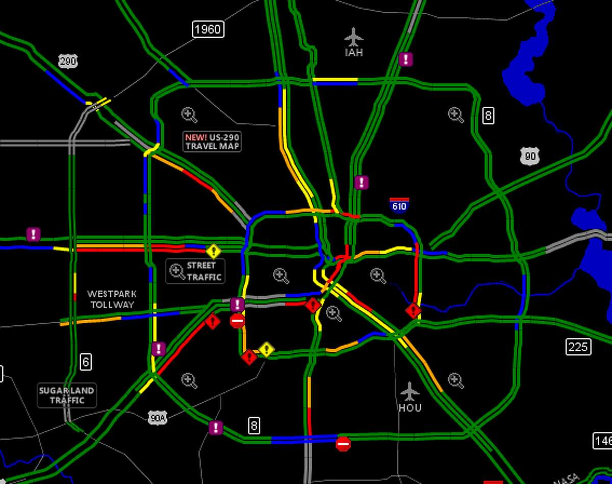 Several accidents have blocked inbound lanes on Houston highways.