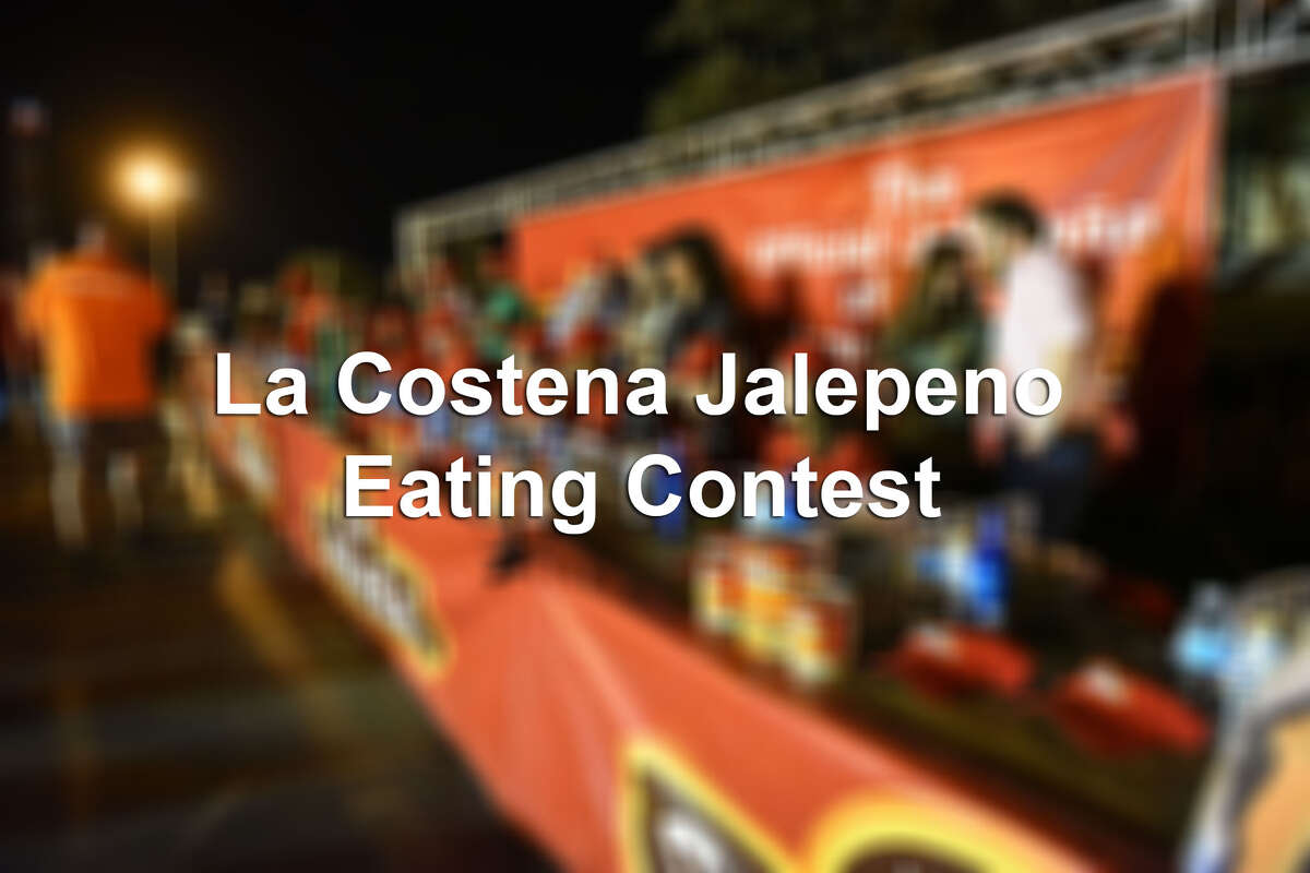 21 contestants endure the La Costena Jalapeno Eating Contest on Saturday, February 18, 2017 at El Metro Park and Ride during the La Costena Jalapeno Festival.