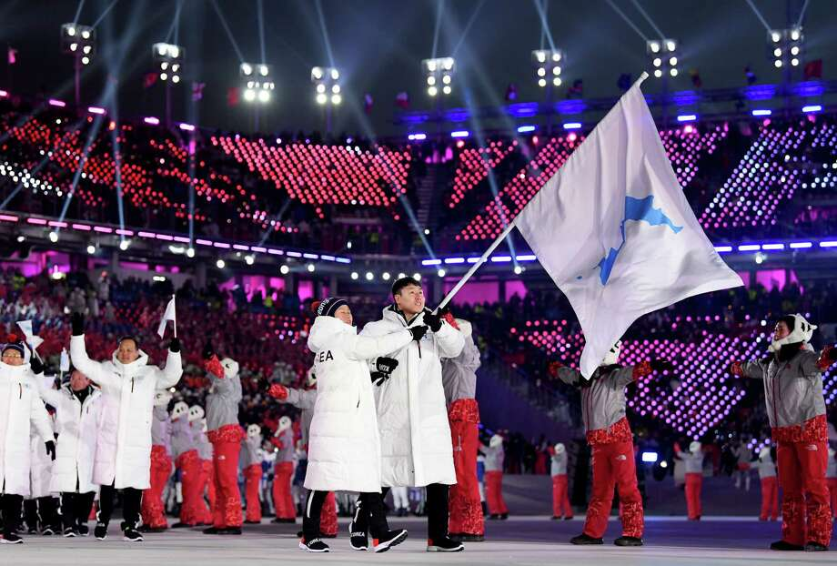 PYEONGCHANG-GUN, SOUTH KOREA - FEBRUARY 09:  The North Korea and South Korea Olympic teams enter together under the Korean Unification Flag during the Parade of Athletes during the Opening Ceremony of the PyeongChang 2018 Winter Olympic Games at PyeongChang Olympic Stadium on February 9, 2018 in Pyeongchang-gun, South Korea. Photo: Matthias Hangst, Getty Images / 2018 Getty Images