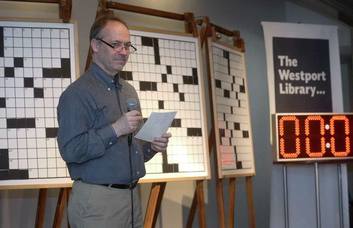 New York Times crossword puzzle editor Will Shortz hosts the 19th Annual Crossword Puzzle Contest Saturday at Saugatuck Congregational Church in Westport. The event, sponsored by Westport Library, was held at the church due to construction at the library. Shortz provided his unpublished NYT puzzles and also puzzled the puzzlers with some word games.
