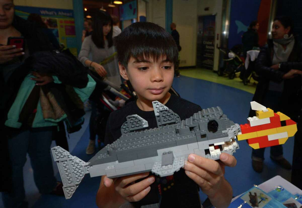 Michael Gioia, 10, of Faifield builds a LEGO fish for an enormous aquarium-themed scene built by Play-Well TEKnologies as The Maritime Aquarium celebrates LEGO with a LEGO Weekend in Newman?'s Own Hall Saturday January 27 2018 in Norwalk, Conn. Kids built sea creatures out of LEGO to add to the sea scene during the activity that will continue Sunday.