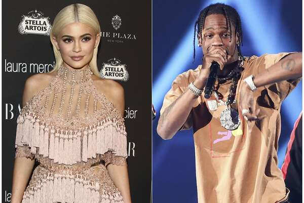 In this combination photo, TV personality Kylie Jenner, left, attends Harper's Bazaar Icons celebration on Sept. 9, 2016, in New York and rapper Travis Scott performs at the 2017 iHeartRadio Music Festival on Sept. 23, 2017, in Las Vegas. In an Instagram post Sunday, Feb. 4, Jenner announced the birth of her baby girl born Thursday. It's the first child for the 20-year-old reality star and the 25-year-old rapper. (Photos by Andy Kropa, left, and John Salangsang/Invision/AP)