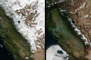 """NASA  reports , """"This image, captured by the Suomi NPP satellite's VIIRS instrument compares current snow cover in the Sierra Nevada mountains with conditions last year, when well above-average snowfall helped end California's historic five-year drought."""""""