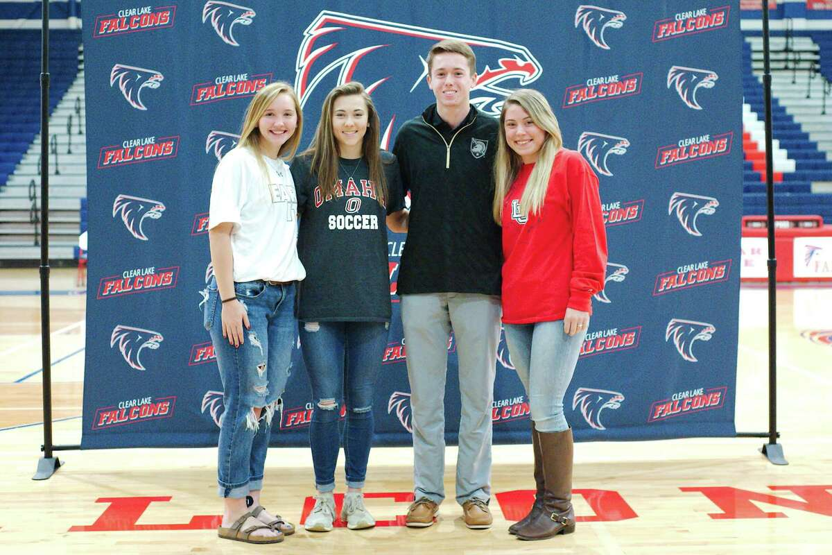 Clear Lake athletes signing national letters of intent Wednesday included (left to right) Paige Kanipes (soccer, Stephen F. Austin University), Katie Guhl (soccer, University of Nebraska-Omaha), Zack Kimbrough (golf, Army) and Stephanie Banach (golf, Lamar University).