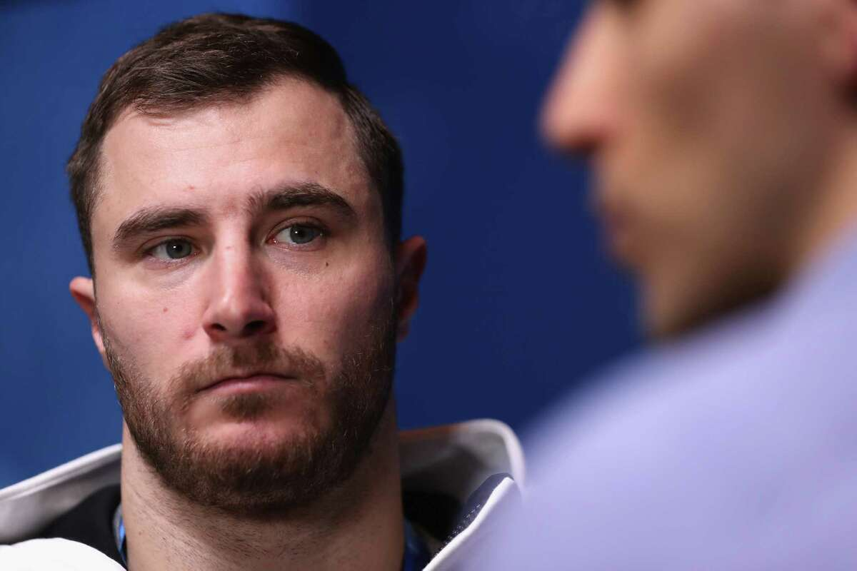 PYEONGCHANG-GUN, SOUTH KOREA - FEBRUARY 09: Sam McGuffie of The United States is interviewed during a United States Bobsleigh press conference ahead of the PyeongChang 2018 Winter Olympic Games at on February 9, 2018 in Pyeongchang-gun, South Korea.