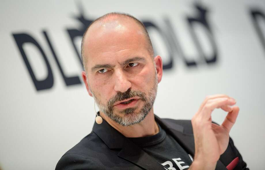 Dara Khosrowshahi, CEO of Uber, speaks on January 22, 2018 at the innovation conference Digital-Life-Design (DLD) in Munich, Germany.  Photo: Matthias Balk/DPA, TNS