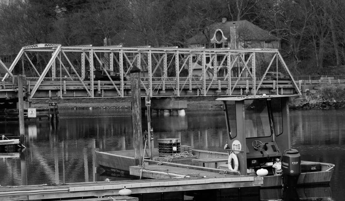 A boat, and also the Cribari Bridge in Westport, Conn., Feb. 6, 2018.