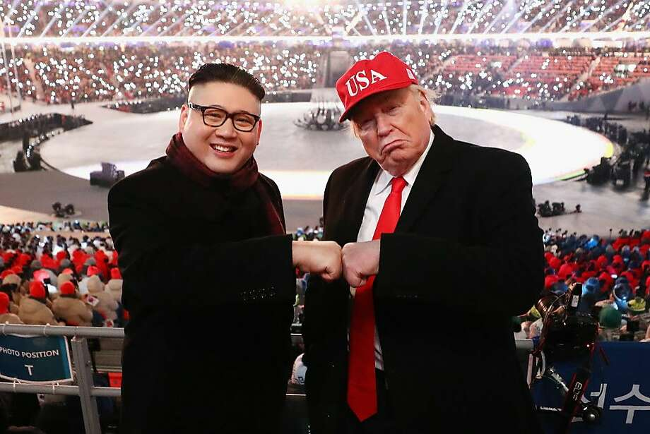 Impersonators of Donald Trump and Kim Jong Un pose during the Opening Ceremony of the PyeongChang 2018 Winter Olympic Games at PyeongChang Olympic Stadium on February 9, 2018 in Pyeongchang-gun, South Korea. Photo: Ryan Pierse, Getty Images